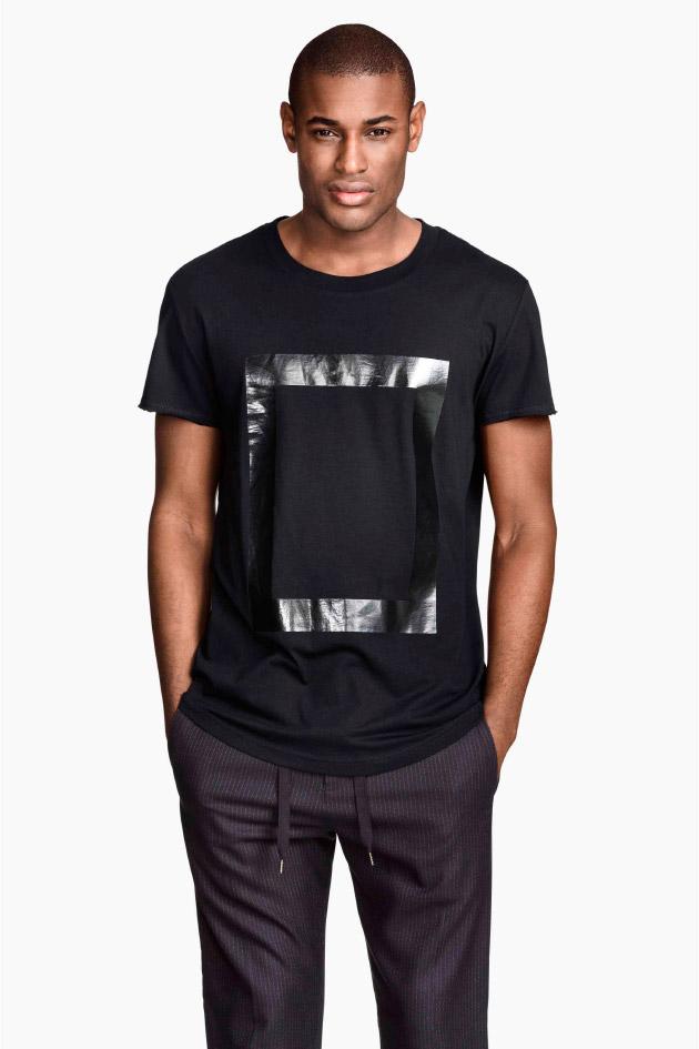 Camiseta con motivo plateado