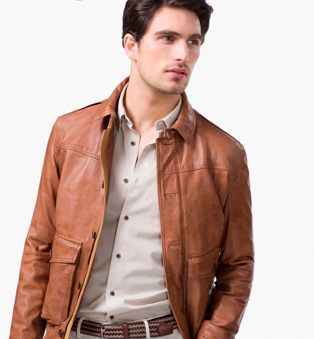 Chaqueta cuero semi formal