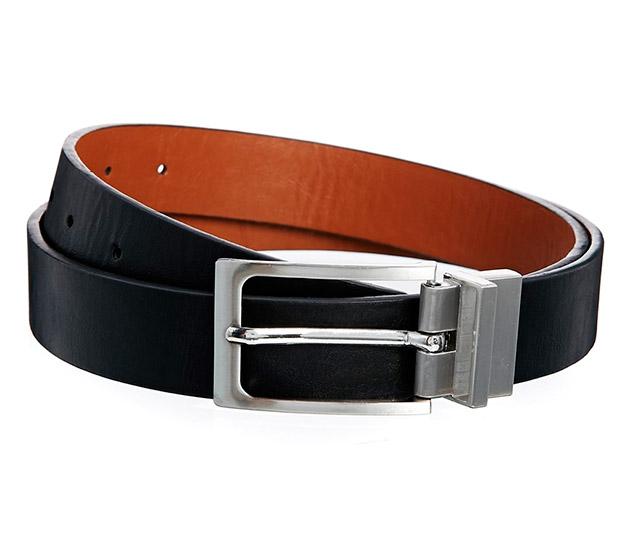 Cinturón reversible en negro y tostado