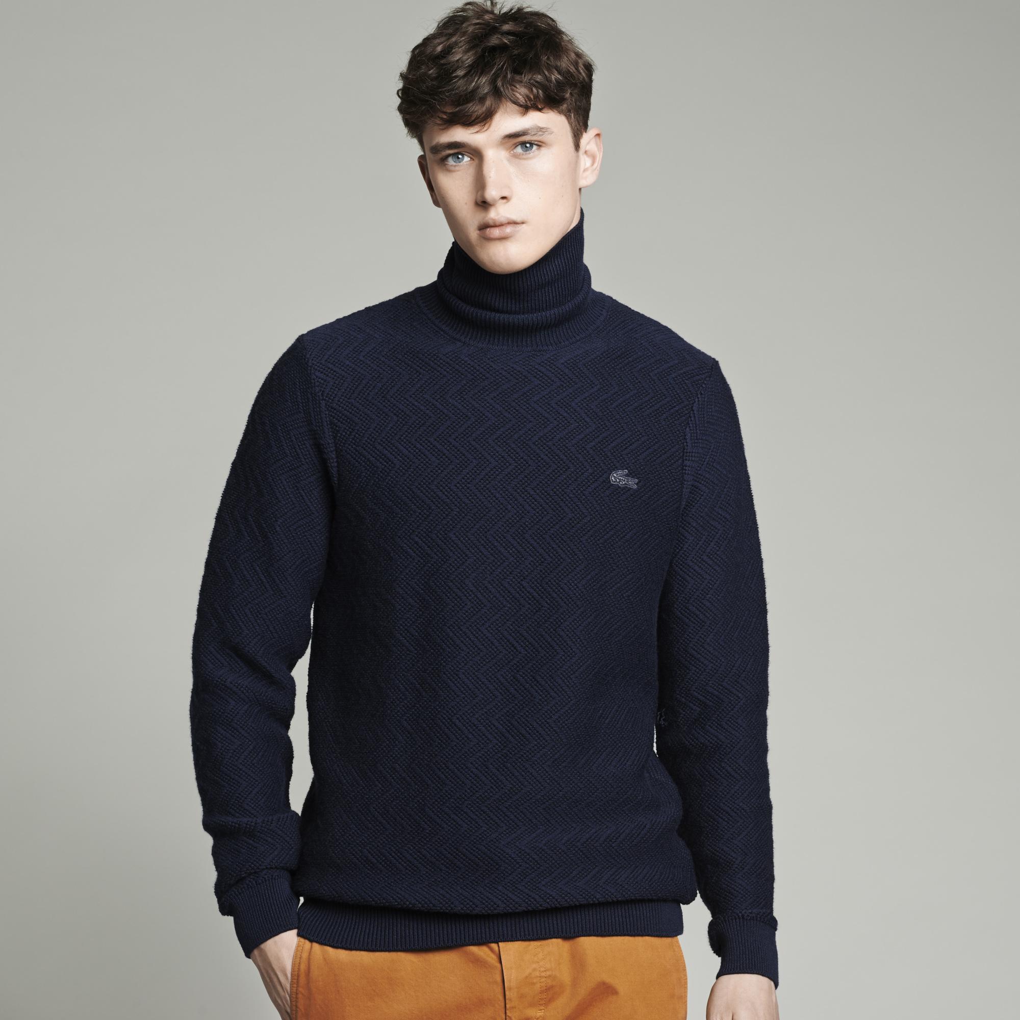 Jersey de cuello vuelto azul marino Lacoste